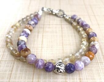 Joy Double Intention Bracelet, Gemstone Meditation Bracelet, Chakra Energy Bracelet, Purple Flower Jasper, Golden Rutilated Quartz