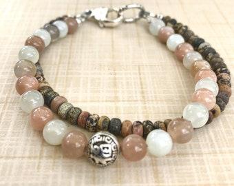 Vision double Intention bracelet, Gemstone Meditation bracelet, Wellness Energy bracelet, Chakra bracelet, Moonstone, Paint Brush Jasper
