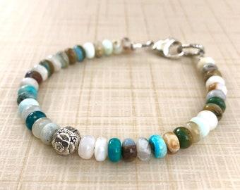 Calm Intention Bracelet, Peony Meditation Bracelet, Blue Opal Gemstone Bracelet, Energy Wellness Bracelet, Chakra Bracelet