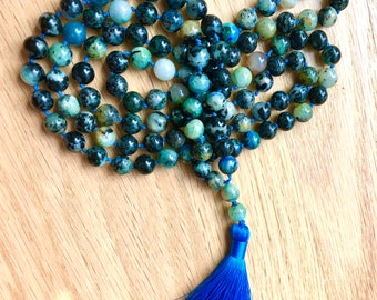 Mala 108 Bead,  Gemstone Mala, Prayer Mala, Chrysocolla