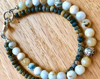 Intention bracelet, Gemstone Charm bracelet, Dendritic White Opal, Picture Jasper, Protection bracelet