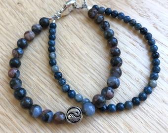 Intention bracelet, WELL-BEING Bracelet, Yin Yang Charm Bracelet, Gray Blue Opal, Dumortierite