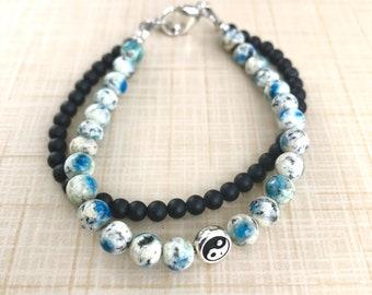 Wisdom Double Intention Bracelet, Gemstone Meditation Bracelet, Wellness Bracelet, K2, Black Onyx, Third Eye Chakra Bracelet