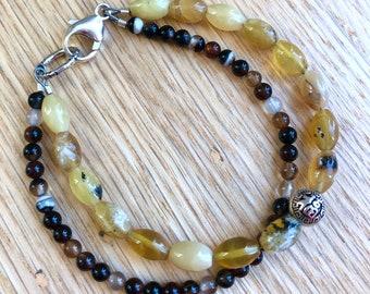 Intention bracelet, STABILITY Bracelet, Charm Gemstone Bracelet, Yellow Opal, Agate
