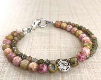 Double Intention Bracelet, Gemstone Meditation Bracelet, Wellness Energy Bracelet, Purple Moss Jasper, Autumn Jasper, Chakra Bracelet