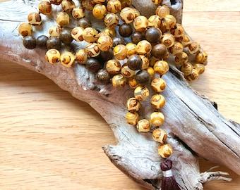 Mala 108 Bead,  Gemstone Mala, Prayer Mala, Tibetan Agate, Bronzite
