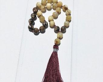Wrist Mala, Mini Pocket Mala, 27 Prayer Beads, Hand Mala, Turritella, Yellow Opal