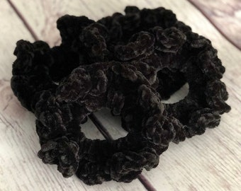 READY TO SHIP || Black Velvet Scrunchie