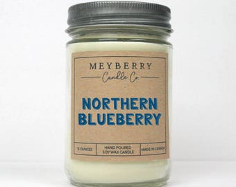 12oz Northern Blueberry Scented Candle, Hand Poured Soy Wax Candle, Meyberry Candles, Unique Gift, Soy Candles