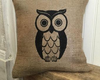 Owl Pillow, Burlap Pillow, Rustic Decor, Decorative Pillow
