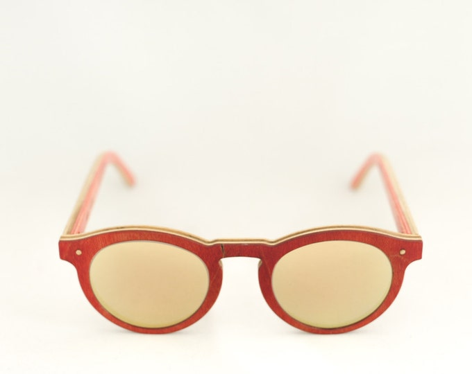 skateboard recycled sunglasses #BOWL shape ! Red gold color #madeinfrance