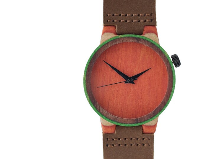 7PLIS watch #112 Recycled SKATEBOARD #madeinfrance yellow brown green wood
