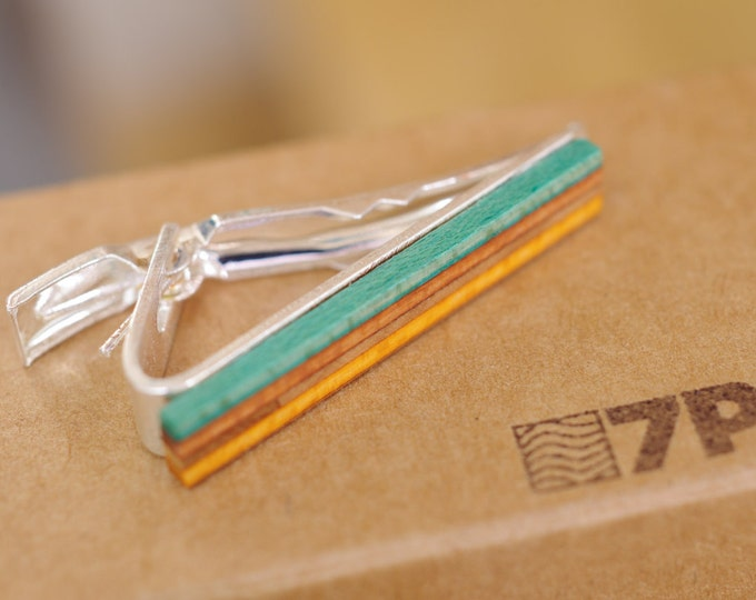 skateboard recycled wood tie clip orange green red handmade