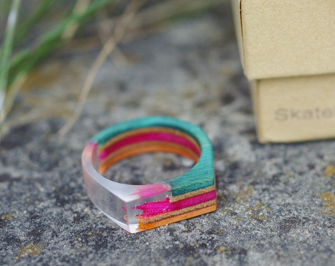skateboard recycled wood & resin ring