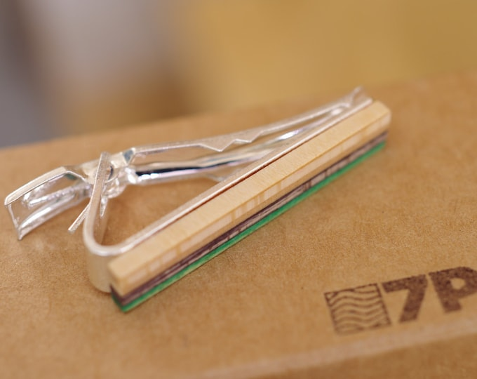 skateboard recycled wood tie clip green black