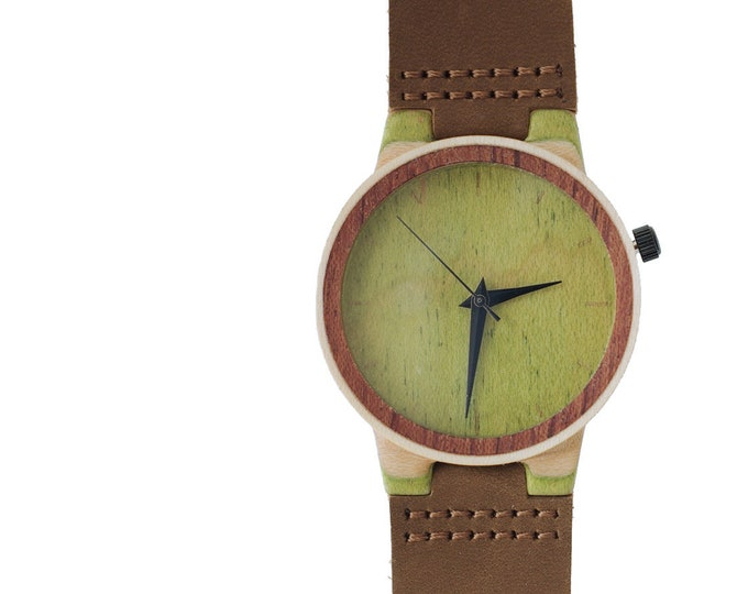 7PLIS watch #113 Recycled SKATEBOARD #madeinfrance yellow brown green wood