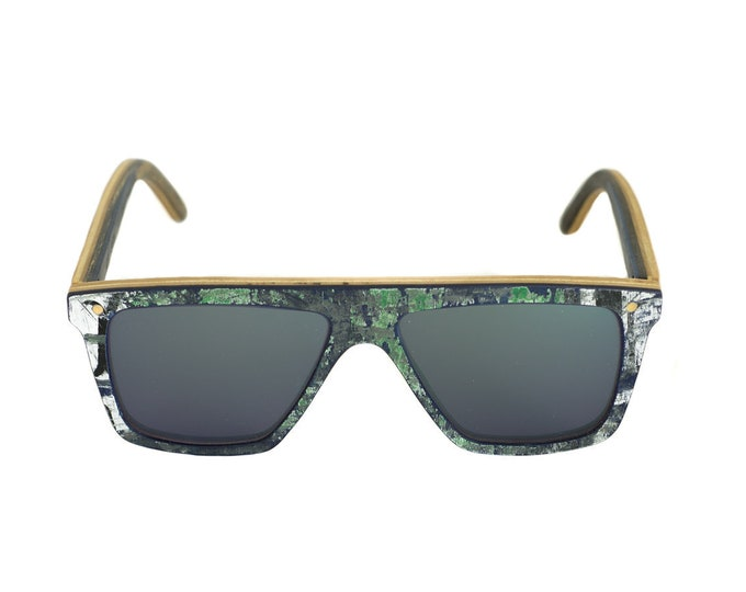 Recycled sunglasses #skateboards FUNBOX #291 blue green frame matte lenses category 3 cobalt color #MadeinFrance