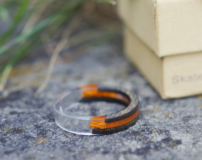 SKATEBOARD recycled ring black orange (wood & resine)