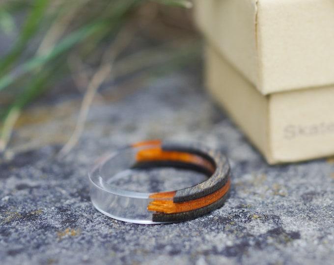 SKATEBOARD recycled ring black orange (wood & resine)