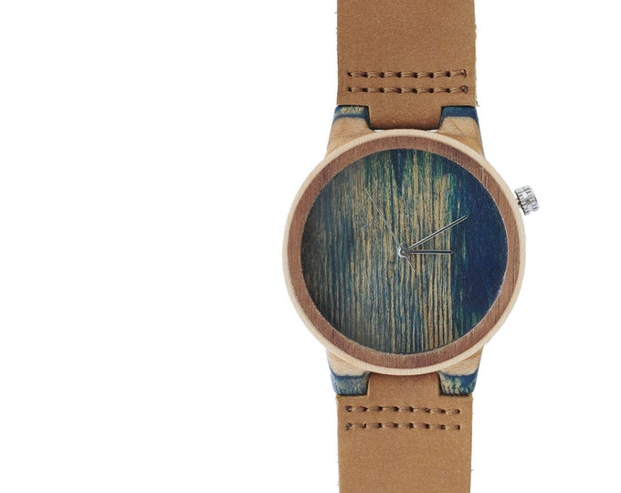 7PLIS watch #121 Recycled SKATEBOARD #madeinfrance blue brown wood