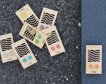 SKATEBOARD recycled wood round earrings green orange red black grey purple blue yellow #madeinfrance