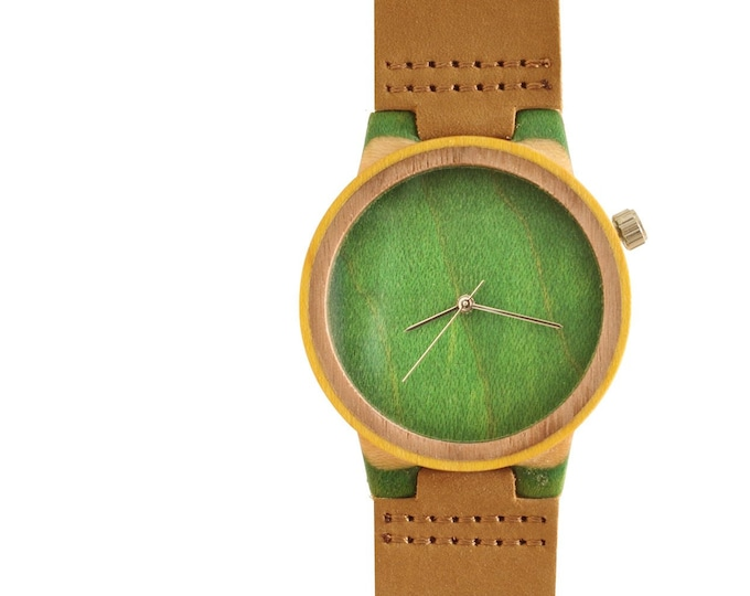 Recycled skateboard watch, yellow brown green and wood, 7PLIS # 155 made in France