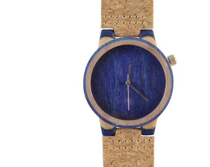 Recycled skateboard watch, blue white and wood, 7PLIS # 148 made in France