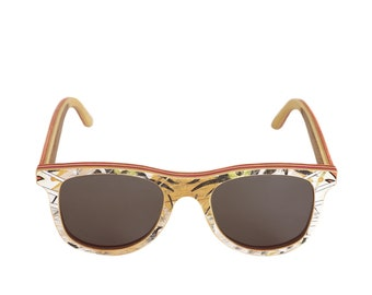 d4540e1e73bb skateboard recycled sunglasses BUMP shape ! white brown color  madeinfrance
