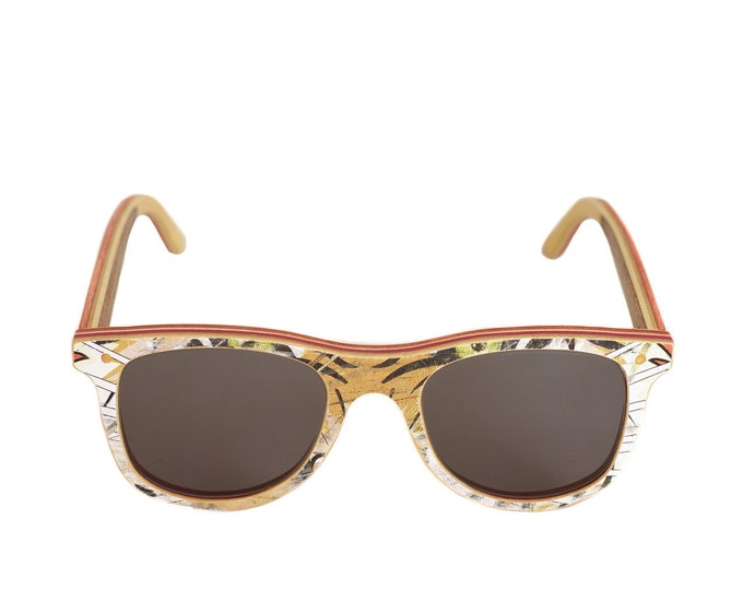 skateboard recycled sunglasses BUMP shape ! white brown color #madeinfrance