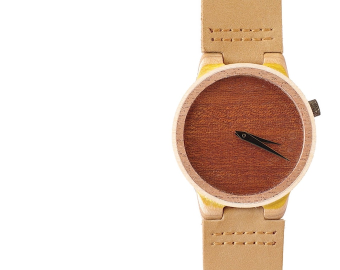 7PLIS watch #11 Recycled SKATEBOARD #madeinfrance yellow brown green wood