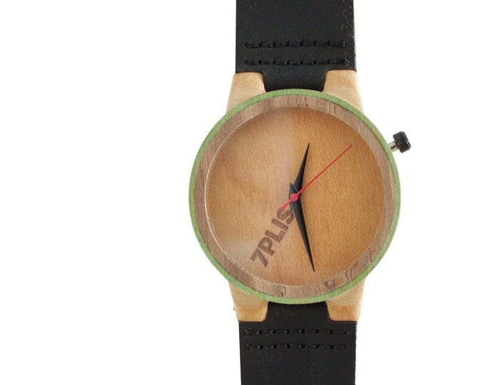 Recycled skateboard watch, black green and wood, 7PLIS # 146 made in France