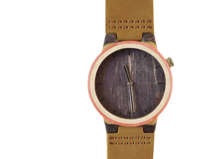 Recycled skateboard watch, red black and wood, 7PLIS # 153 made in France