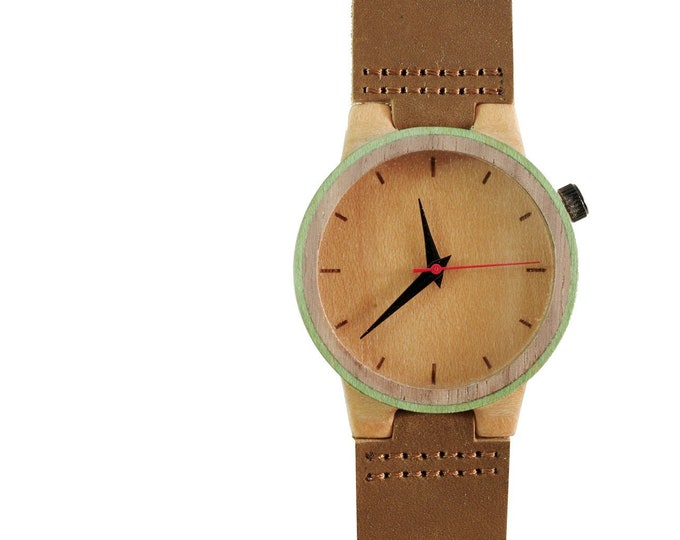 Recycled skateboard watch, brown green and wood, 7PLIS # 145 wood made in France