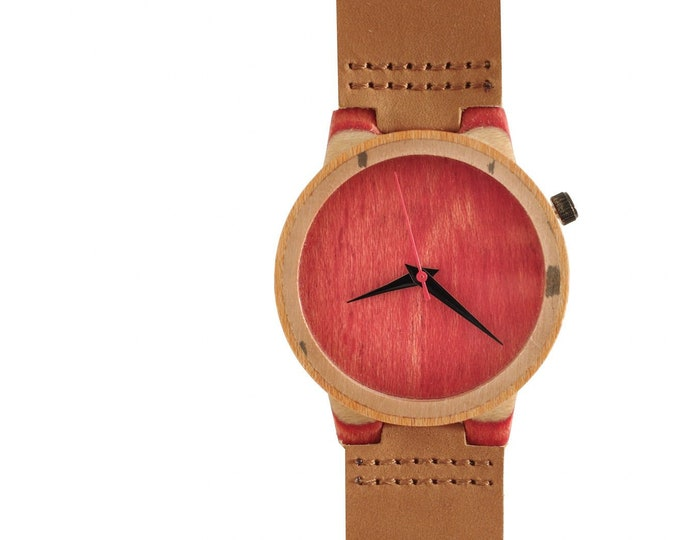 Recycled skateboard watch, red orange black and wood, 7PLIS # 132 made in France