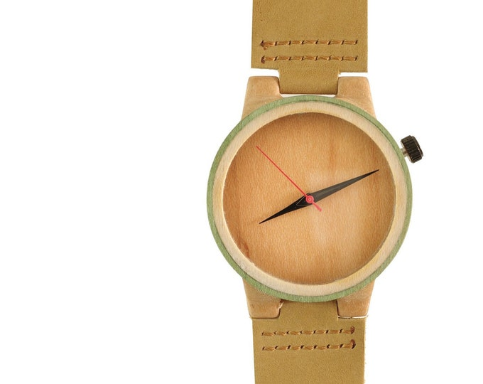 Recycled skateboard watch, black brown green and wood, 7PLIS # 147 made in France