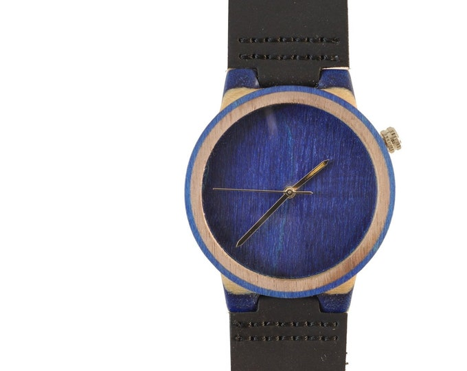Recycled skateboard watch, blue white and wood, 7PLIS # 151 made in France