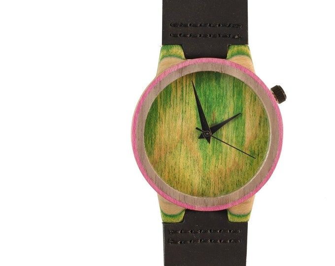 skateboard watch, green pink and wood, 7PLIS # 130 made in France