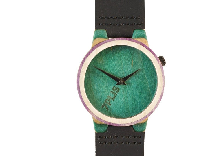 skateboard watch, green purple and wood, 7PLIS # 139 made in France