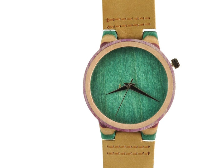 Recycled skateboard watch, green purple and wood, 7PLIS # 136 made in France