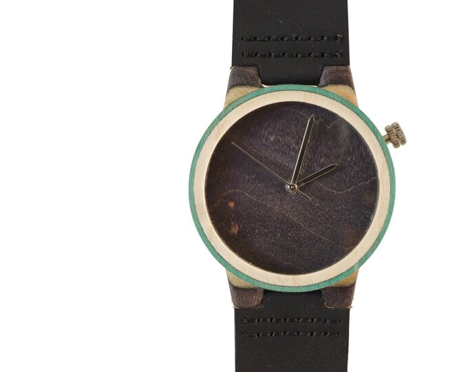 Recycled skateboard watch, black green and wood, 7PLIS # 154 made in France