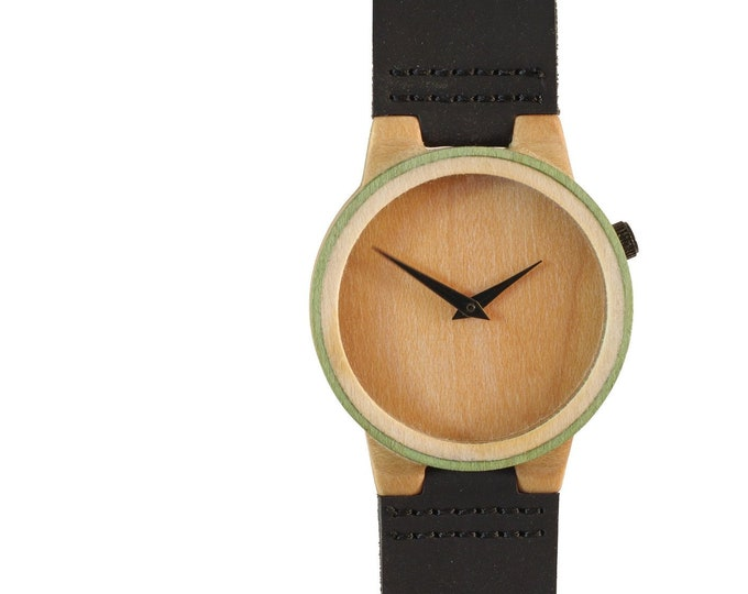 Recycled skateboard watch, black brown green and wood, 7PLIS # 144 made in France
