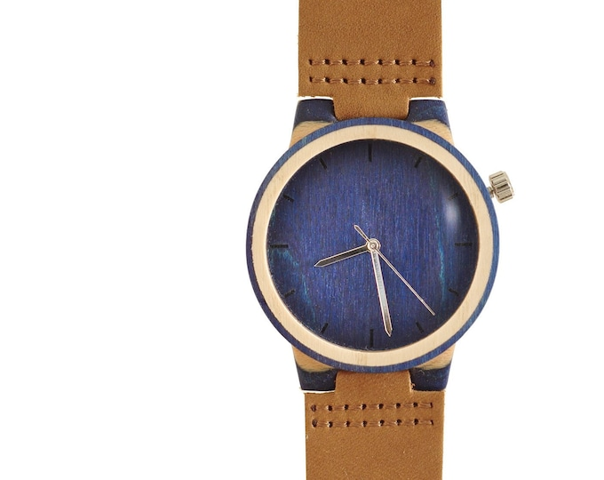 Recycled skateboard watch, blue white and wood, 7PLIS # 149 made in France