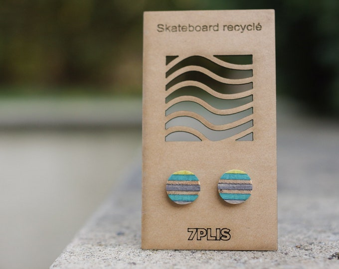 Recycled SKATEBOARD earring, 7PLIS blue grey wood, real 925 silver round