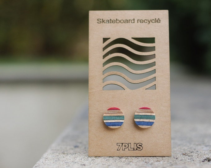 Recycled SKATEBOARD earring, 7PLIS green rouge blue wood, real 925 silver round