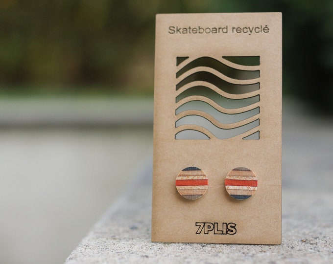 Recycled SKATEBOARD earring, 7PLIS black grey orange wood, real 925 silver round