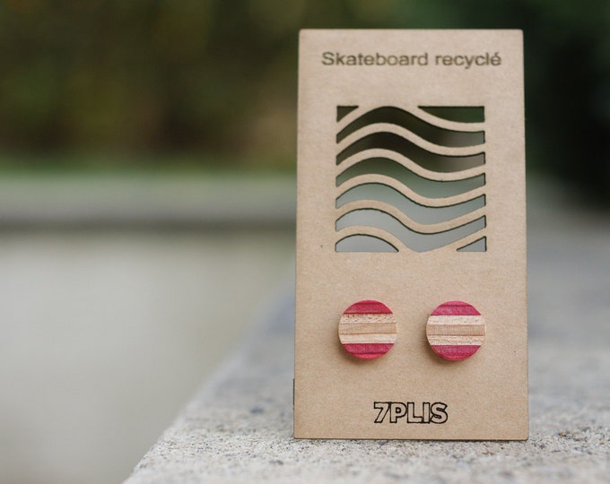 Recycled SKATEBOARD earring, 7PLIS pink brown wood, real 925 silver round