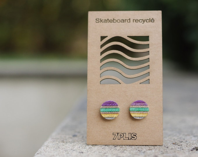 Recycled SKATEBOARD earring, 7PLIS purple yellow wood, real 925 silver round