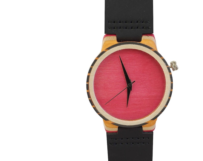 7PLIS watch #016 Recycled SKATEBOARD #madeinfrance fuchsia orange black blue wood