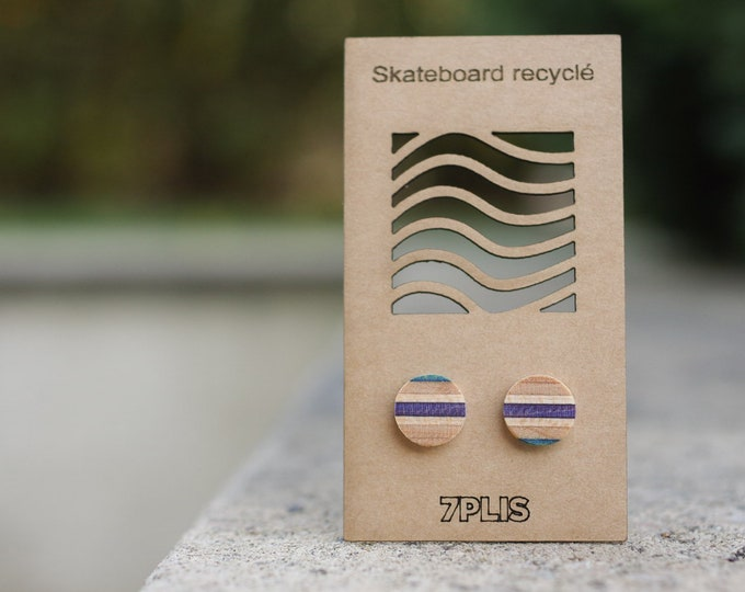 Recycled SKATEBOARD earring, 7PLIS purple blue wood, real 925 silver round