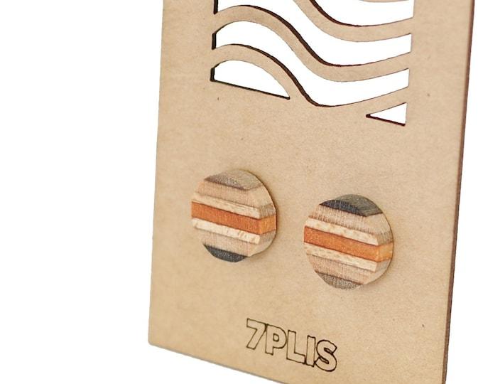 Recycled SKATEBOARD earring, 7PLIS black grey orange wood, real 925 silver round